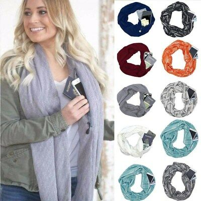 2019 Fashion Women Winter Thermal Active Infinity Scarf With Zip Pocket UK B2N