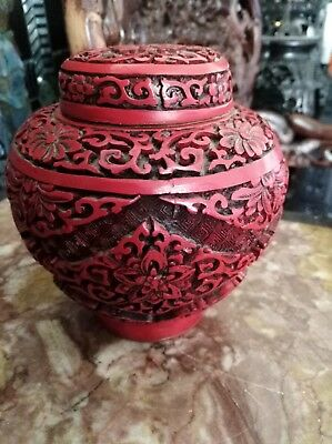 Carved lacquer pot