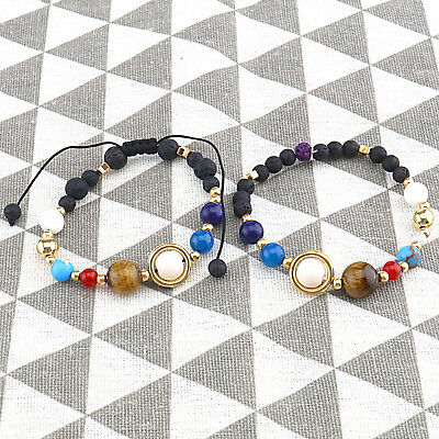 Unisex Natural Solar System Planets Stars Stones Beads Bracelet Stretch Bangle