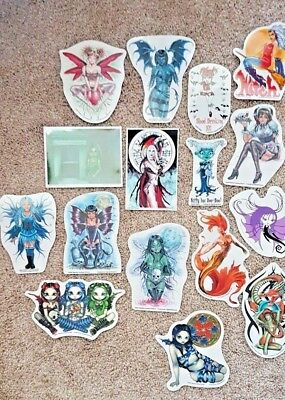 Lot of 16 New Fairy, Dragon, Mermaid, Angel, Devil, Gothic, Witch Sticker Decal
