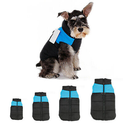 Pet Dog Coat Puppy Warm Jacket Vest Clothes Apparel Harness Blue S/M/L/XL