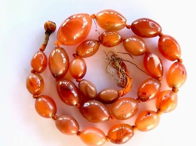 """Antique Hand Knotted Carved Oval Carnelian Agate Bead Necklace Chinese ? 17"""""""