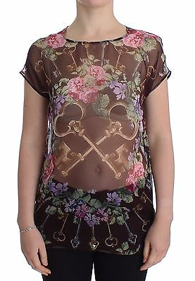 9633d28fb54 NWT $800 DOLCE & GABBANA Black Key Floral Print Silk Blouse T-shirt IT42/