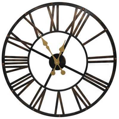 Large Size Garden Wall Clock Roman Numeral Metal & Wooden Indoor Outdoor Use
