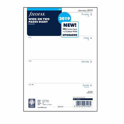 Filofax A5 2019 Week On Two Pages Diary Refill Insert Organiser 19-68522 CAU