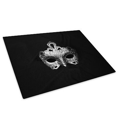 Mask Black Silver White  Glass Chopping Board Kitchen Worktop Saver Protector