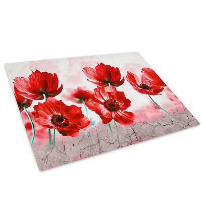 Large 40cm Glass Worktop Rustic Floral Home Chopping Board Saver Protector
