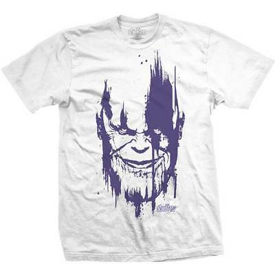 Marvel Comics Official Avengers Infinity Thanos Head Purple Mens White T-Shirt