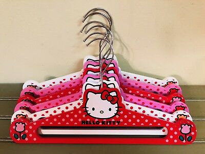 Lot of 6 HELLO KITTY Wood Clothes Coat Hangers Red Pink White
