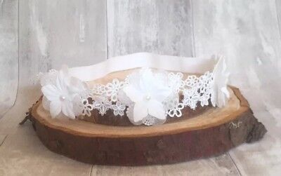 UK Baby off White Christening Headband Baptism Wedding Photo Prop Flower Lace
