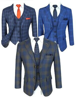 Boys Check Formal Page Boy Wedding Suits Kids Checkered Prom Communion Outfit