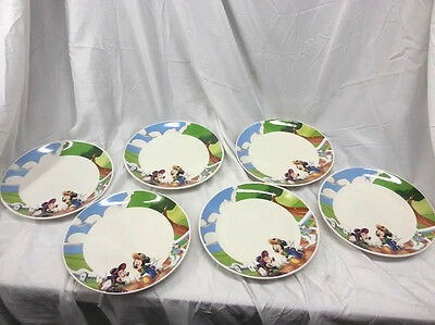 6pc Disney Mickey Mouse Minnie Mouse Ceramic Dinner Plate Set