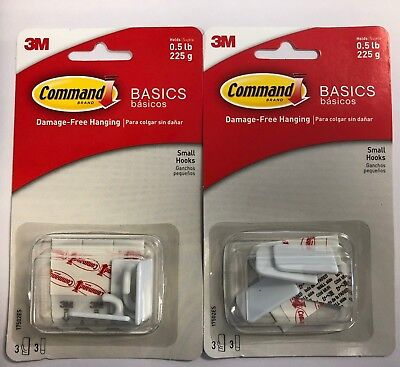 3M Command Basics Damage Free Hanging Small Hooks 6 ct. 2 Three Packs 17502ES