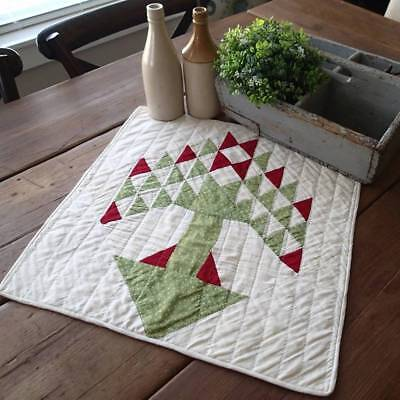 Prim Country Christmas Antique Red & Green Pine Tree Table Doll QUILT 19x18