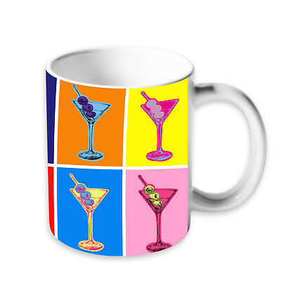 Colourful Martini Cocktail Tea Coffee Ceramic Kitchen Mug Cup Drink Gift Idea