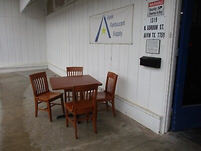 Sets of 4 Wood Restaurant Chairs and 36x36 Restaurant Table #3601