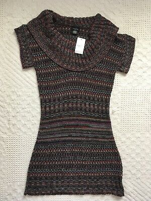 8525d1251b2 Rue 21 Junior Women s Gray Multi-Colored Cowl Neck Sweater Dress Size Medium