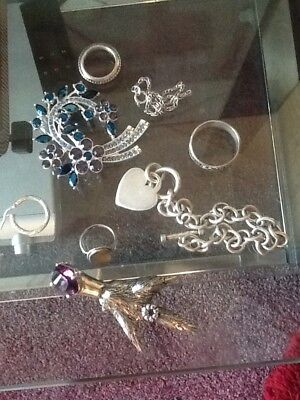 Job Lot Collection Of Silver And Costume Jewellery
