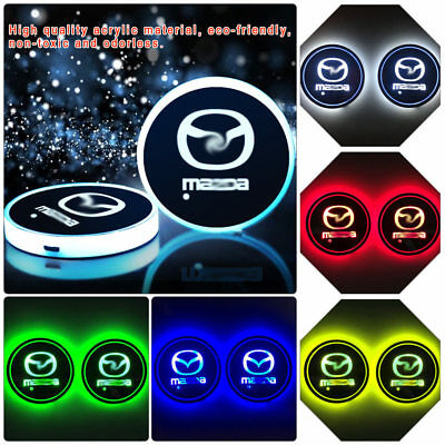 2pc RGB LED Car Cup Holder Light Pad For Mazda 2 3 6 CX Interior Atmosphere Lamp