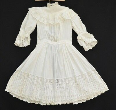 Antique Victorian Edwardian era Cotton Childs Girls Dress Amazing Lace Trim