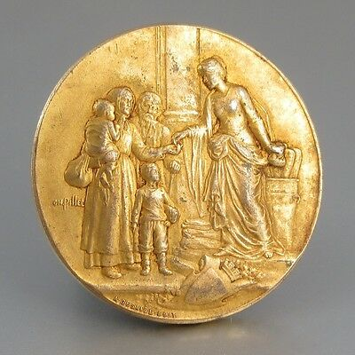 AntiqueFrench Gilded Bronze Medal Bas-Relief,Charity, Family, Signed, WWI