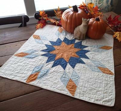 Early One! Antique Cheddar & Blue Star Table or Doll Quilt 25x24 Prim Country
