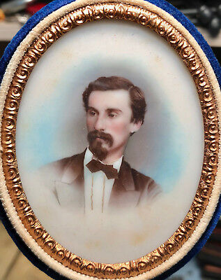 Beautifully Tinted Milk Glass Portrait of a Handsome Man c.1860's