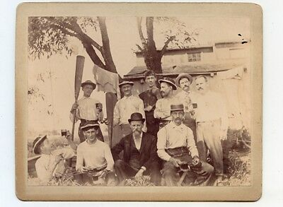 1890s Outdoor Cab Card of 10 Young Men Drinking Beer