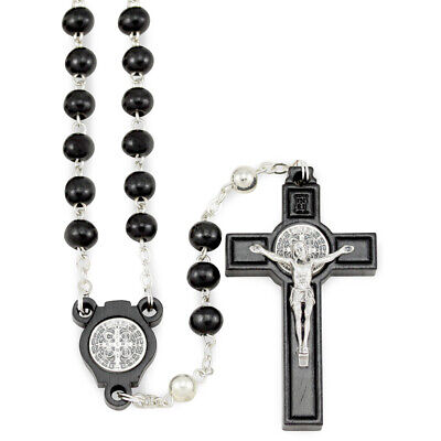 St Benedict Black Wooden Beads Rosary