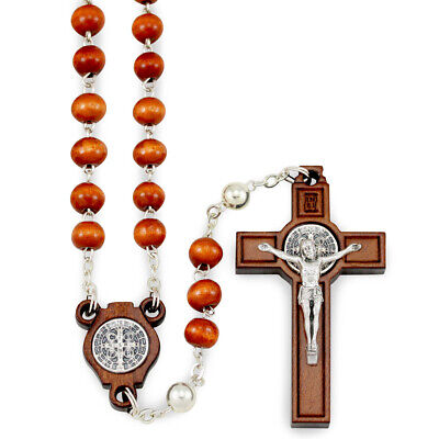 St Benedict Brown Wooden Beads Rosary