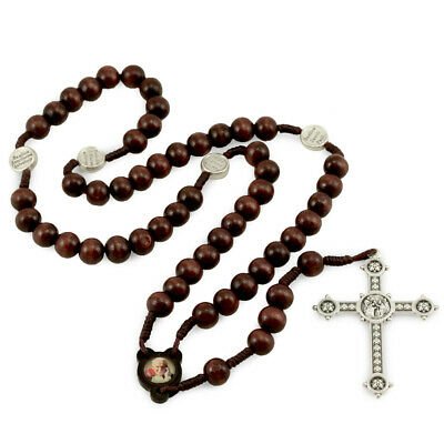 Wooden Beads Rosary with Image St. John Paul II and Silver Tone Cross