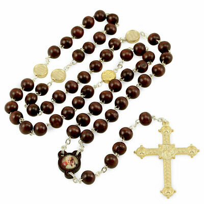 Wooden Beads Rosary with Image St. John Paul II and Gold Tone Cross