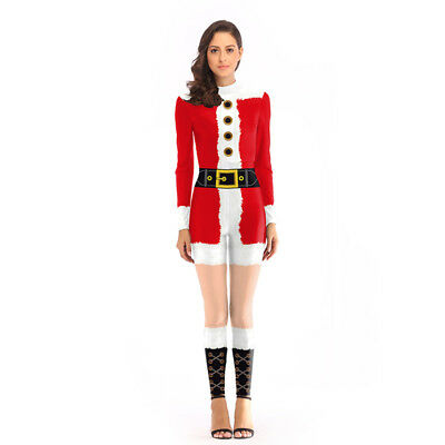 Women Christmas Costume Jumpsuit Tight Thin Cosplay Party Sexy Bodysuit Clothing