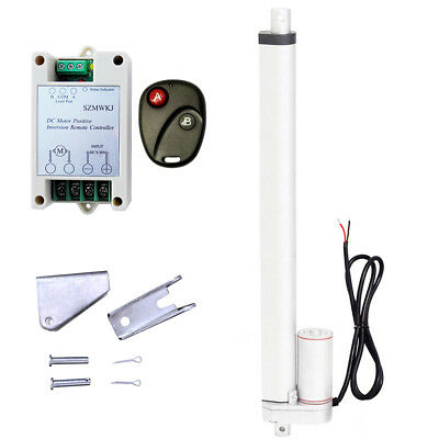 """14mm/s 18"""" 12V DC Linear Actuator & Remote Controller 1000N Max Lifting Auto Car"""
