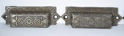 Vintage Bin Cabinet Pulls Handles Set  6 Cast Iron  1890's Fancy Lot R