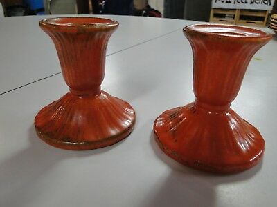 Antique Stangl Pottery Tangerine Candle Holders #1388 - Set of 2