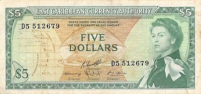 East Caribbean States ND. 1965 Series D5 Circulated Banknote Red13