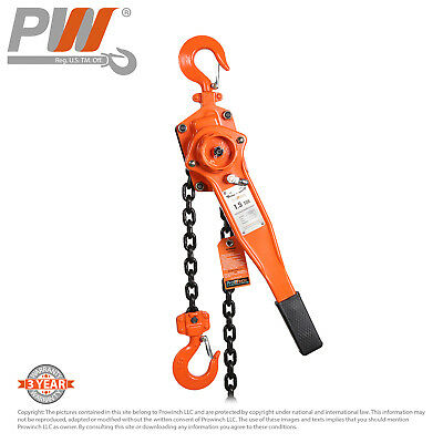 ProWinch Lever Chain Hoist 1.5 ton 1 falls 5 ft G80 Black Tempered Chain