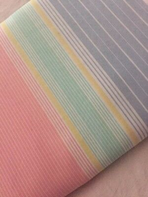 Lady Pepperell Twin Flat Sheet Muslin Pastel Striped Vintage No Iron Percale Vtg