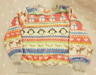 Girls Next Fleece Christmas Fairisle Print Jumper Age 3-4 Penguins Snowmen