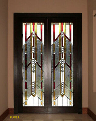 Spectacular Set of Stained Glass Door Frank L Wright style  WOW