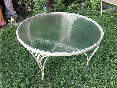 Vintage WOODARD Patio Round Coffee Table w/ Textured GLASS - Wrought Iron MCM