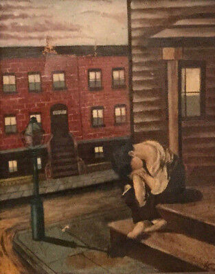 A. Combs Wpa Urban Street Painting With Hand-Carved Wood Frame
