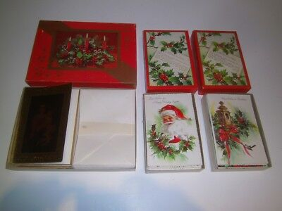 3 Boxes Vintage Christmas Cards 57 Unused | Holly Gold 1950's many designs