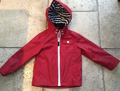 M&S Age 3-4 Lined Fisherman's Jacket Coat Anorak Red Boys Girls