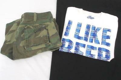 Men's Outfit Lot of 2 Camouflage Shorts and Bud Light T-Shirt Size Small