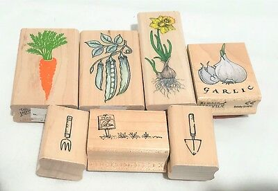 GARDEN Vegetables Gardening Tools Carrots Peas Rubber Stamps Lot of 7