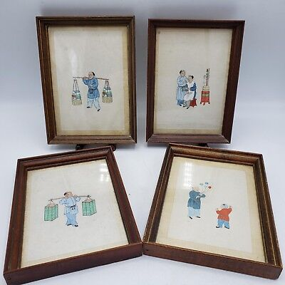 """Set of 4 Vintage Chinese Pith Paintings in Frames  - 5"""" x 7"""""""
