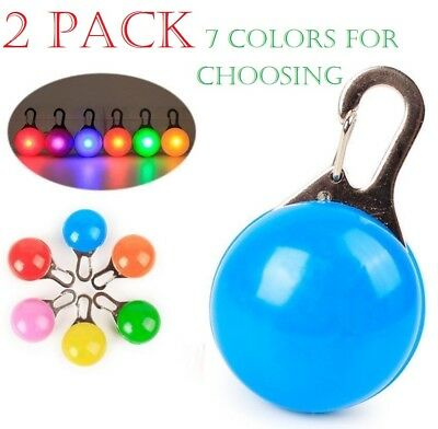 2 PACK Waterproof Pet Dog Cat Collar LED Night Safety Clip Tag Flashing Light 2x
