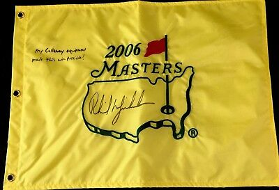 64f612b4342 2006 Masters Flag Signed By Phil Mickelson With PSA DNA Certificate